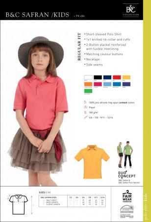 B&C gyerek galléros póló