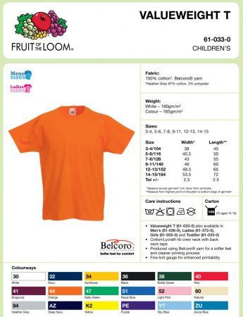 Fruit of the Loom gyerek pólók fiú/lány